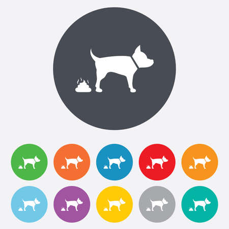 feces: Feces sign icon. Clean up after pets symbol. Put it in the bag. Round colourful 11 buttons. Vector Illustration