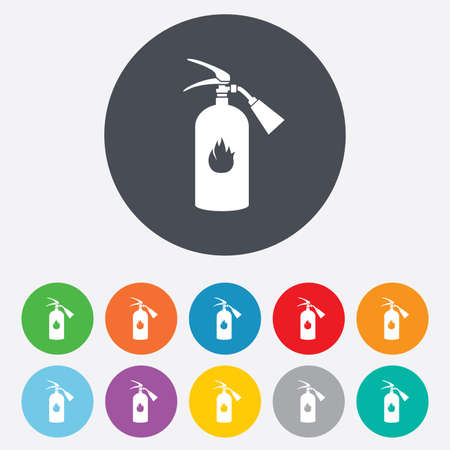 firefighting: Fire extinguisher sign icon. Fire safety symbol. Round colourful 11 buttons. Vector