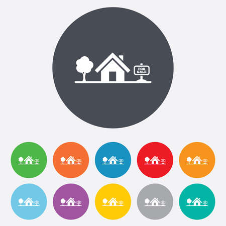 house for sale: Home sign icon. House for sale. Broker symbol. Round colourful 11 buttons. Vector Illustration