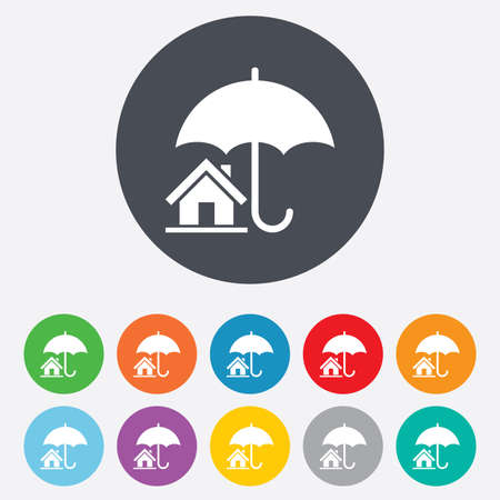 Home insurance sign icon. Real estate insurance symbol. Round colourful 11 buttons. Vector Vector