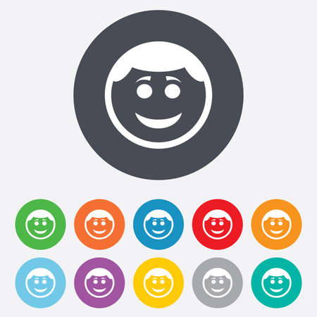 Smile face sign icon. Happy smiley with hairstyle chat symbol. Round colourful 11 buttons. Vector Vector