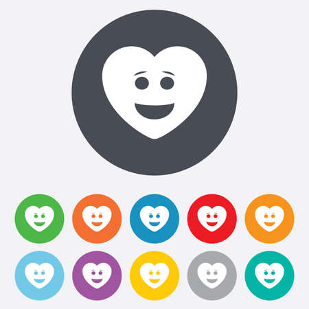 green face: Smile heart face sign icon. Happy smiley with hairstyle chat symbol. Round colourful 11 buttons. Vector Illustration