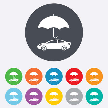 Car insurance sign icon. Protection symbol. Round colourful 11 buttons. Vector Vector