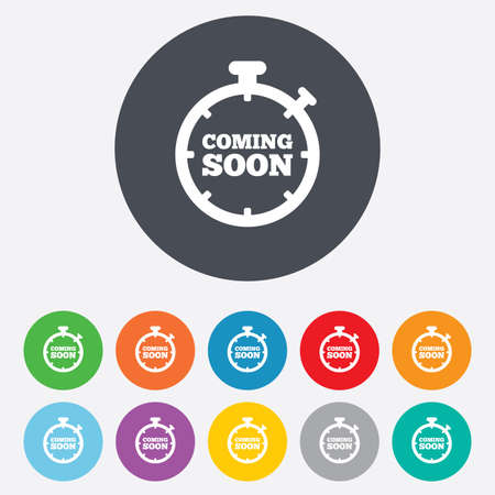 Coming soon sign icon. Promotion announcement symbol. Round colourful 11 buttons. Vector Vector