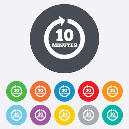 every: Every 10 minutes sign icon. Full rotation arrow symbol. Round colourful 11 buttons. Vector
