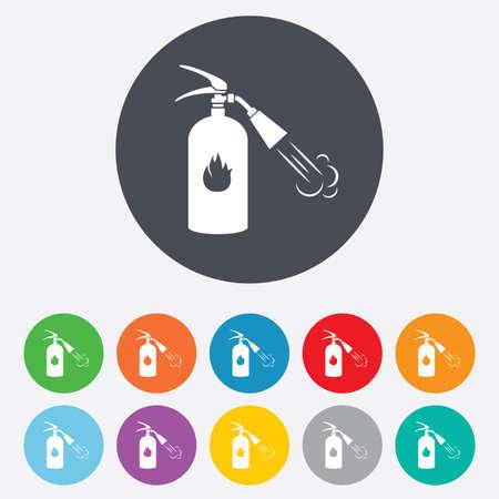 fire extinguisher sign: Icono de la muestra del extintor. S�mbolo de seguridad contra incendios. Ronda de colores 11 botones. Vector Vectores