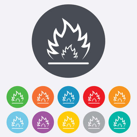 fire escape: Fire flame sign icon. Heat symbol. Stop fire. Escape from fire. Round colourful 11 buttons. Vector