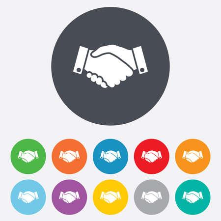 握手サイン アイコン。ビジネスの成功のシンボルです。丸いカラフルな 11 ボタン。ベクトル