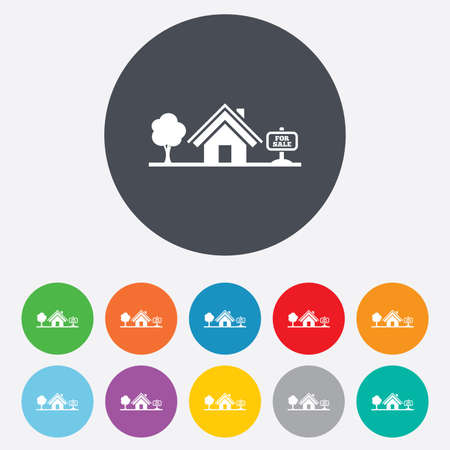 Home sign icon. House for sale. Broker symbol. Round colourful 11 buttons. Vector Vector