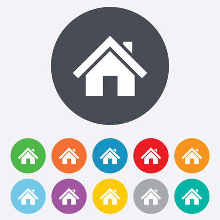 Home sign icon. Main page button. Navigation symbol. Round colourful 11 buttons. Vector