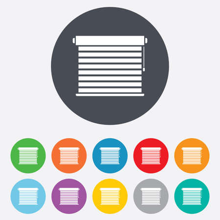 jalousie: Louvers sign icon. Window blinds or jalousie symbol. Round colourful 11 buttons. Vector