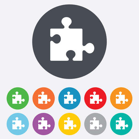 Puzzle piece sign icon. Strategy symbol. Round colourful 11 buttons. Vector