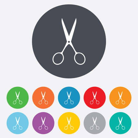 disclosed: Scissors hairdresser sign icon. Tailor symbol. Round colourful 11 buttons. Vector Illustration
