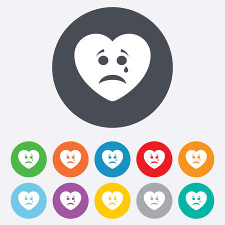Sad heart face with tear sign icon. Crying chat symbol. Round colourful 11 buttons. Vector Vector