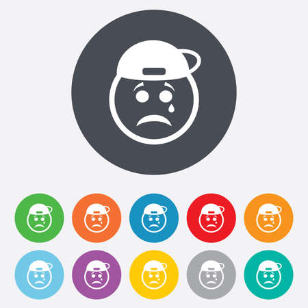token: Sad rapper face with tear sign icon. Crying chat symbol. Round colourful 11 buttons. Vector