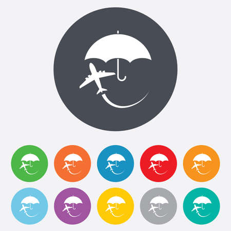 Flight insurance sign icon. Safe travel symbol. Round colourful 11 buttons. Vector Vector