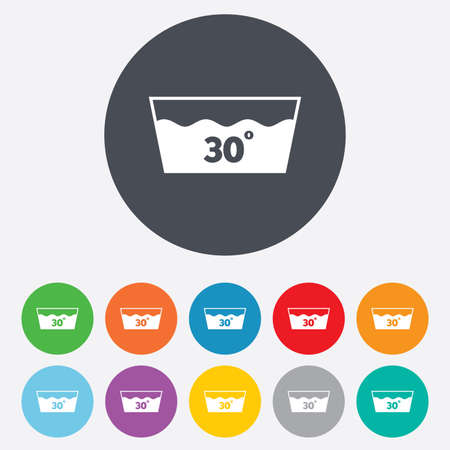 washable: Wash icon. Machine washable at 30 degrees symbol. Round colourful 11 buttons. Vector Illustration