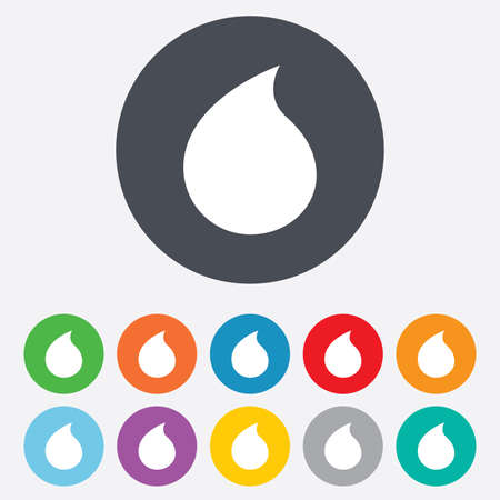 Water drop sign icon. Tear symbol. Round colourful 11 buttons. Vector Vector