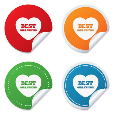 Best girlfriend sign icon. Heart love symbol. Round stickers. Circle labels with shadows. Curved corner. photo