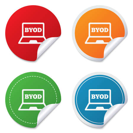 bring: BYOD sign icon. Bring your own device symbol. Laptop icon. Round stickers. Circle labels with shadows. Curved corner. Stock Photo