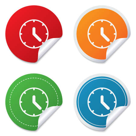 corner clock: Clock sign icon. Mechanical clock symbol. Round stickers. Circle labels with shadows. Curved corner. Stock Photo