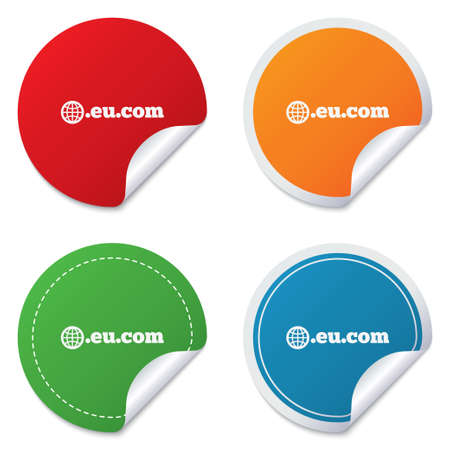 subdomain: Domain EU.COM sign icon. Internet subdomain symbol with globe. Round stickers. Circle labels with shadows. Curved corner.