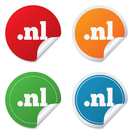 dns: Domain NL sign icon. Top-level internet domain symbol. Round stickers. Circle labels with shadows. Curved corner.
