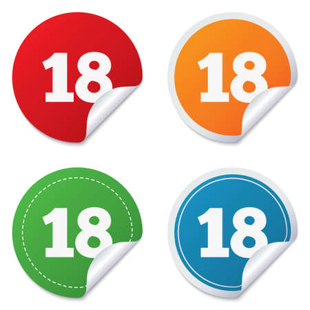 18 years old: 18 years old sign. Adults content icon. Round stickers. Circle labels with shadows. Curved corner. Stock Photo