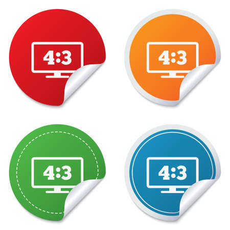 4 3 display: Aspect ratio 4:3 widescreen tv sign icon. Monitor symbol. Round stickers. Circle labels with shadows. Curved corner.