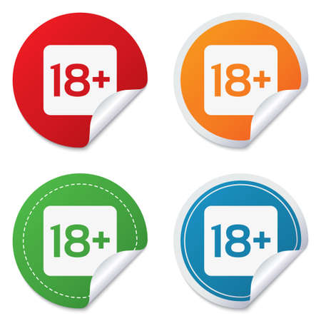 18 years old: 18 years old sign. Adults content only icon. Round stickers. Circle labels with shadows. Curved corner. Stock Photo