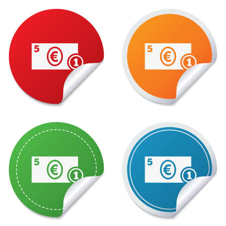 eur: Cash sign icon. Euro Money symbol. EUR Coin and paper money. Round stickers. Circle labels with shadows. Curved corner.