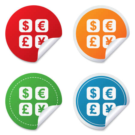 converter: Currency exchange sign icon. Currency converter symbol. Money label. Round stickers. Circle labels with shadows. Curved corner.