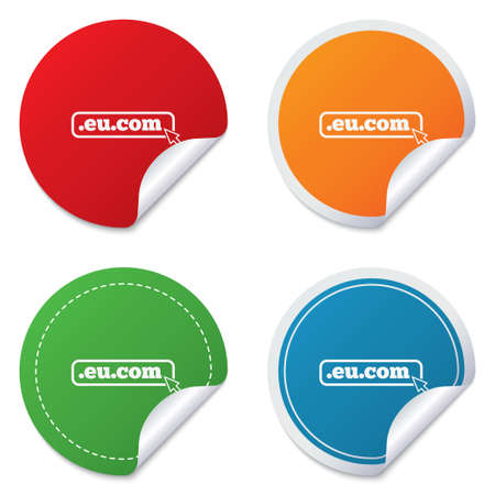 subdomain: Domain EU.COM sign icon. Internet subdomain symbol with cursor pointer. Round stickers. Circle labels with shadows. Curved corner.