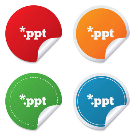 ppt: File presentation icon. Download PPT button. PPT file extension symbol. Round stickers. Circle labels with shadows. Curved corner.