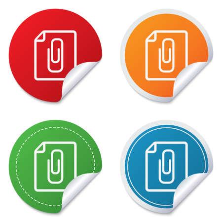 appendix: File annex icon. Paper clip symbol. Attach symbol. Round stickers. Circle labels with shadows. Curved corner.