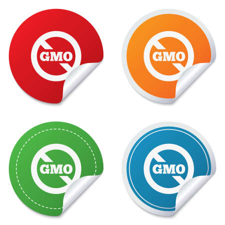 genetically: No GMO sign icon. Without Genetically modified food. Stop GMO. Round stickers. Circle labels with shadows. Curved corner. Stock Photo