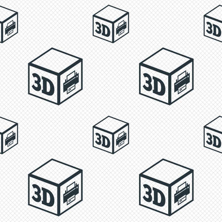 3D Print sign icon. 3d cube Printing symbol. Additive manufacturing. Seamless grid lines texture. Cells repeating pattern. White texture background. photo