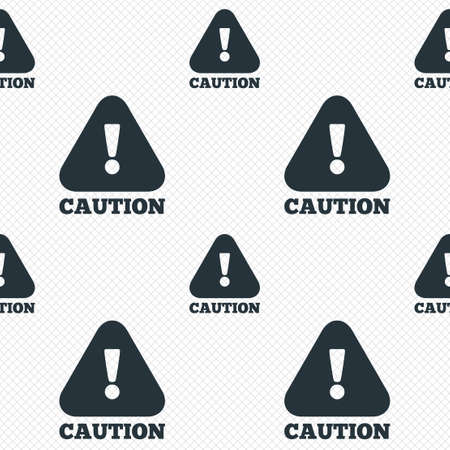 Attention caution sign icon. Exclamation mark. Hazard warning symbol. Seamless grid lines texture. Cells repeating pattern. White texture background. photo