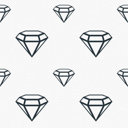 Diamond sign icon. Jewelry symbol. Gem stone. Seamless grid lines texture. Cells repeating pattern. White texture background. photo