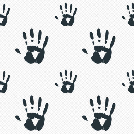Hand print sign icon. Stop symbol. Seamless grid lines texture. Cells repeating pattern. White texture background. photo