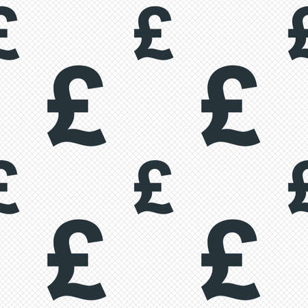 Pound sign icon. GBP currency symbol. Money label. Seamless grid lines texture. Cells repeating pattern. White texture background. photo