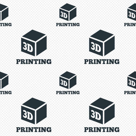 additive manufacturing: 3D Print sign icon. 3d cube Printing symbol. Additive manufacturing. Seamless grid lines texture. Cells repeating pattern. White texture background.