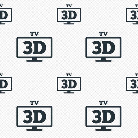 widescreen: 3D TV sign icon. 3D Television set symbol. New technology. Seamless grid lines texture. Cells repeating pattern. White texture background.
