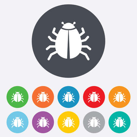 disinfection: Bug sign icon. Virus symbol. Software bug error. Disinfection. Round colourful 11 buttons.