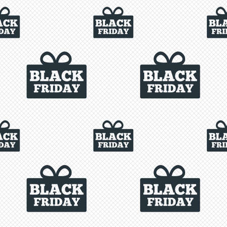 Black friday gift sign icon. Sale symbol. Special offer label. Seamless grid lines texture. Cells repeating pattern. White texture background. photo