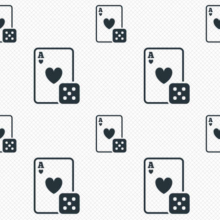 Casino sign icon. Playing card with dice symbol. Seamless grid lines texture. Cells repeating pattern. White texture background. photo