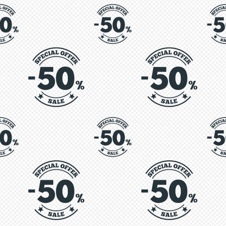 50 percent discount sign icon. Sale symbol. Special offer label. Seamless grid lines texture. Cells repeating pattern. White texture background. photo