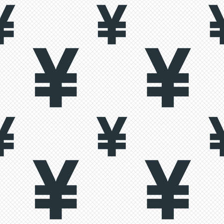 Yen sign icon. JPY currency symbol. Money label. Seamless grid lines texture. Cells repeating pattern. White texture background. photo