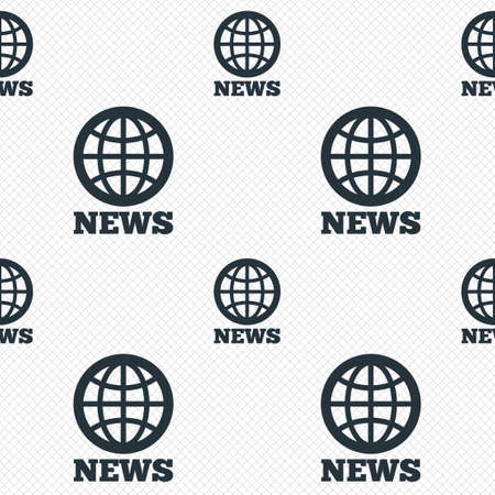 globe grid: News sign icon. World globe symbol. Seamless grid lines texture. Cells repeating pattern. White texture background. Stock Photo