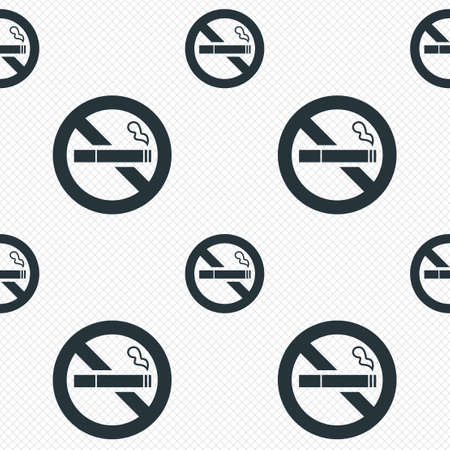 No Smoking sign icon. Quit smoking. Cigarette symbol. Seamless grid lines texture. Cells repeating pattern. White texture background. photo